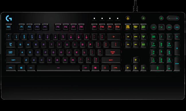 Bàn phím chơi game G213 Prodigy của Logitech (Logitech G213 Prodigy Gaming  Keyboard) với chức năng chiếu sáng RGB và nhấn nhiều phím cùng lúc