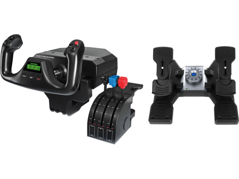 Flight Yoke System + Flight Rudder Pedals | A complete, balanced setup for flight simulation