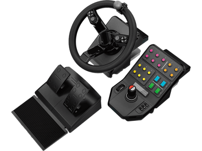 Heavy Equipment Bundle | Simulation Wheel, Pedals and Side Panel Control Deck