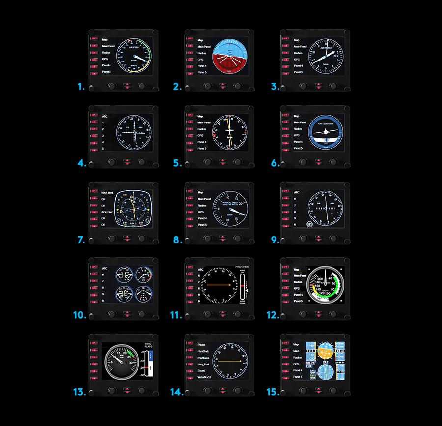 FlightInstrumentPanel Professionelle Simulations-Steuerungseinheit für mehrere Instrumente mit LCD-Display