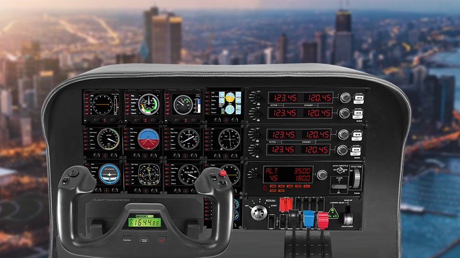 Flight Instrument Panel Professionelle Simulations-Steuerungseinheit für mehrere Instrumente mit LCD-Display