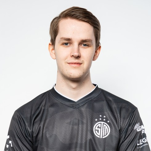 a portrait of kobbe, sporting the tsm jersey with a subtle gray camo print